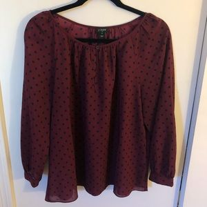 JCrew Size M Maroon Blouse with Navy Polka Dots
